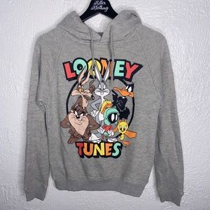 Retro Looney Tunes Cropped Hoodie Sweatshirt